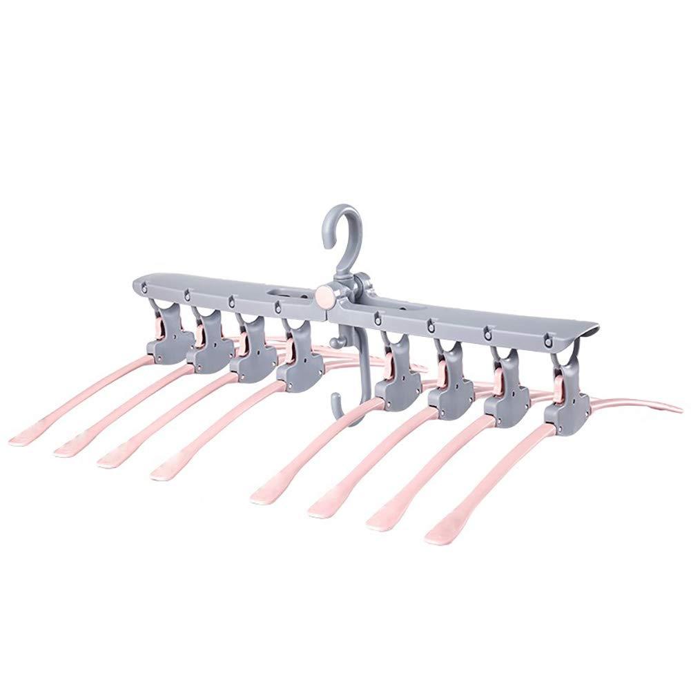 MIAO@LONG Stendini Gancio 360 /° rotanti Antiscivolo Gancio Pieghevole per Camicia per Bambini Adulti//Maglione//Pantaloni Tuta Abiti Hanger Organizer Rack,Pink