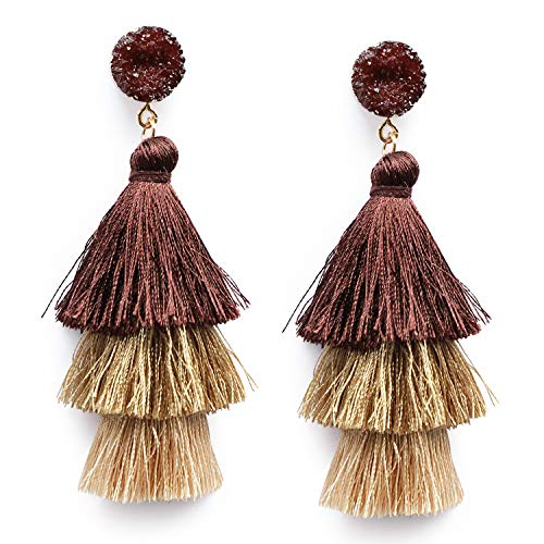 Me&Hz Brown Ombre Tassel Earrings Layered Tiered Thread Autumn Brown Tassel Drop Dangle Earrings Handmade Druzy Stud Earrings for Women