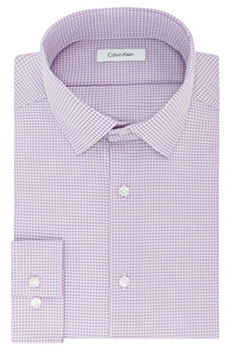 Calvin Klein Mens Dress Shirts Non Iron Slim Fit Gingham Spread Collar, Dusty Lavender, 14.5