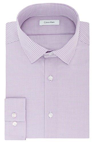 Calvin Klein Mens Dress Shirts Non Iron Slim Fit Gingham Spread Collar, Dusty Lavender, 15.5