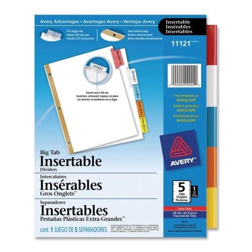 AVE11121 - WorkSaver Big Tab Plastic Dividers