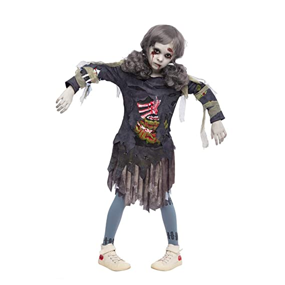 Halloween Zombie Costume.Buy Spooktacular Creations Scary Halloween Zombie Girl Living Dead Monster Child Costume For Girls Large 10 11 Grey Online At Low Prices In India Amazon In