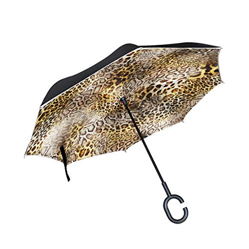 Double Layer Inverted Umbrellas Reverse Folding Umbrella Leopard Print Windproof for Car Rain Outdoor with C-Shaped Handle