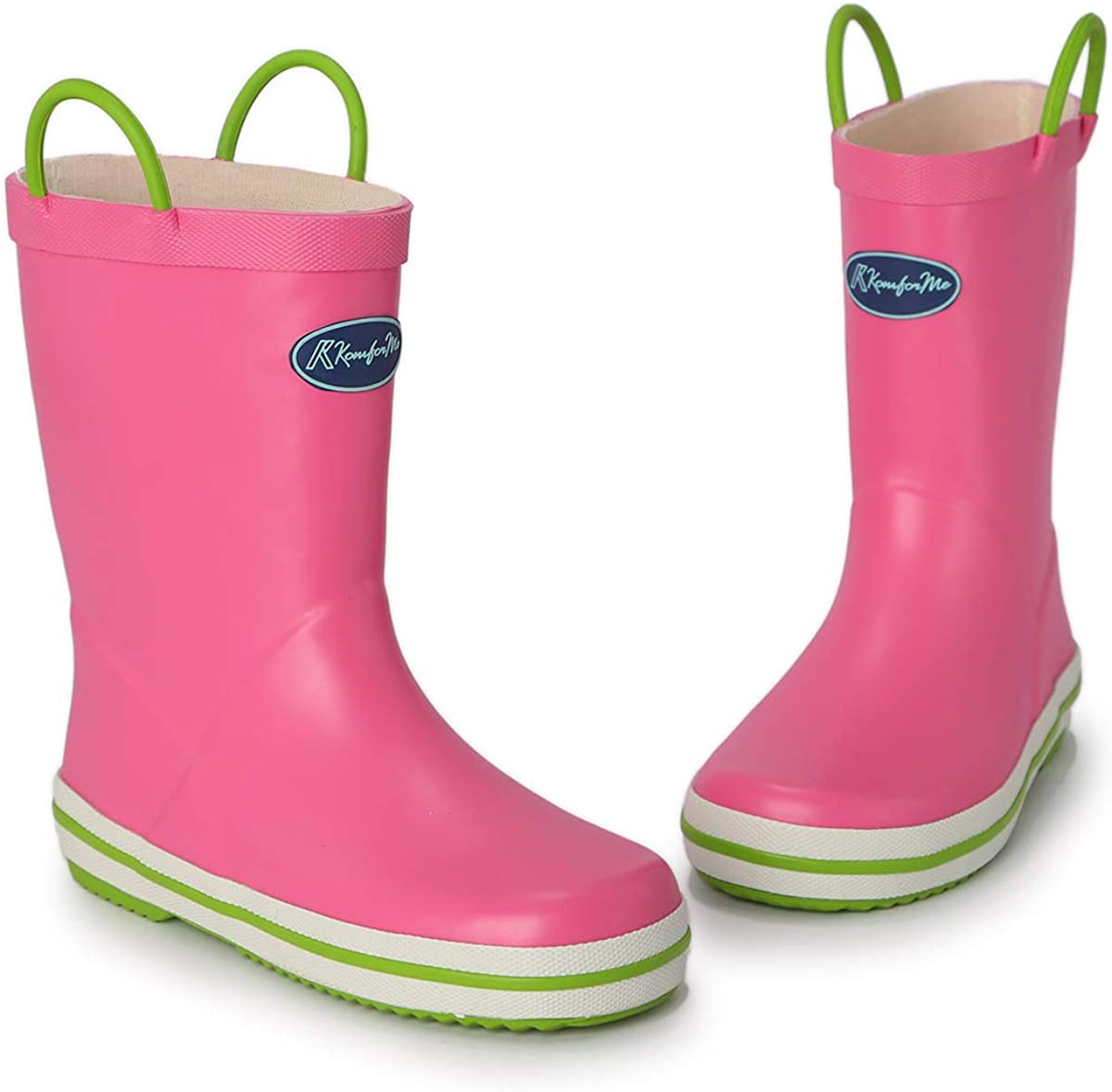 KomForme Kids Matte Rain Boots Waterproof Rubber Boots with Reflective Stripes and Easy-on Handles