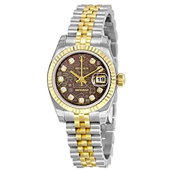 ff0c2044615 Image Unavailable. Image not available for. Color: Rolex Lady Datejust 36  Automatic Black Mother of Pearl Jubilee Diamond Dial Steel and 18kt Yellow