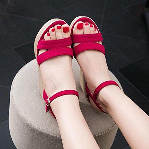 Slope Toe Platform High Fashion Sandals Cjc Elegant Heels Waterproof Sexy Red heeled Open Thin High ITfpOq
