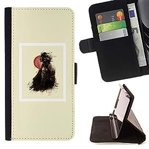Momo Phone Case / Flip Funda de Cuero Case Cover - Globo Chica Negro cartel minimalista - Samsung Galaxy S4 IV I9500