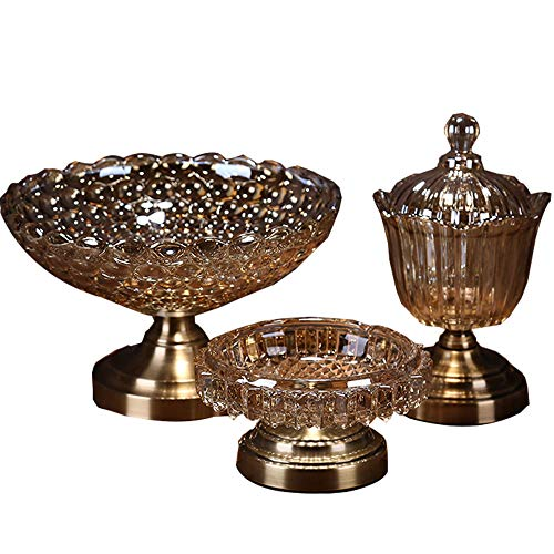 Comport Home Glass Fruit Bowl, Living Room Decoration Candy Dish, Ashtray Combination