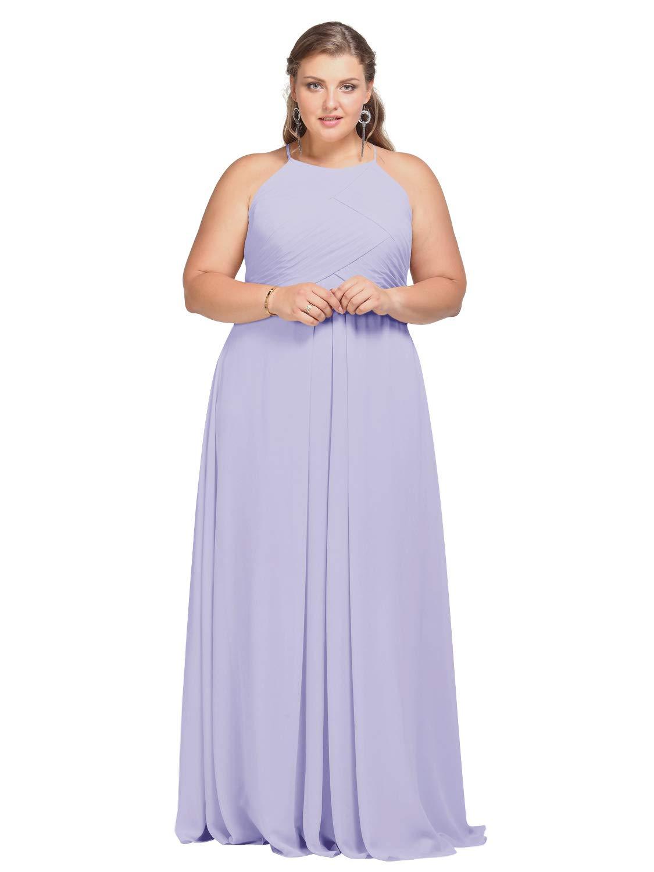 Alicepub Plus Size Bridesmaid Dress Chiffon Long Maxi Prom Evening Formal  Gown, Lilac, US24
