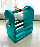 Bottle Opener, Wooden Tote Caddy, Distressed Teal, Shabby Chic, Barware, Beach Decor, Tool Box, Storage Caddy, Catchall, Rustic, Cottage, Storage, Organization