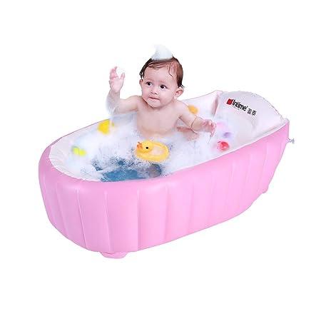Signstek – Bañera hinchable, piscina hinchable, barreño para niños y bebés blanco rosa