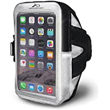 """Armpocket Mega i-40 Highly Reflective Phone Armband, Silver, Medium Strap - Fits iPhone X/8/7/6, Galaxy S9/S8/S7 w case, or phones up to 6.5"""""""