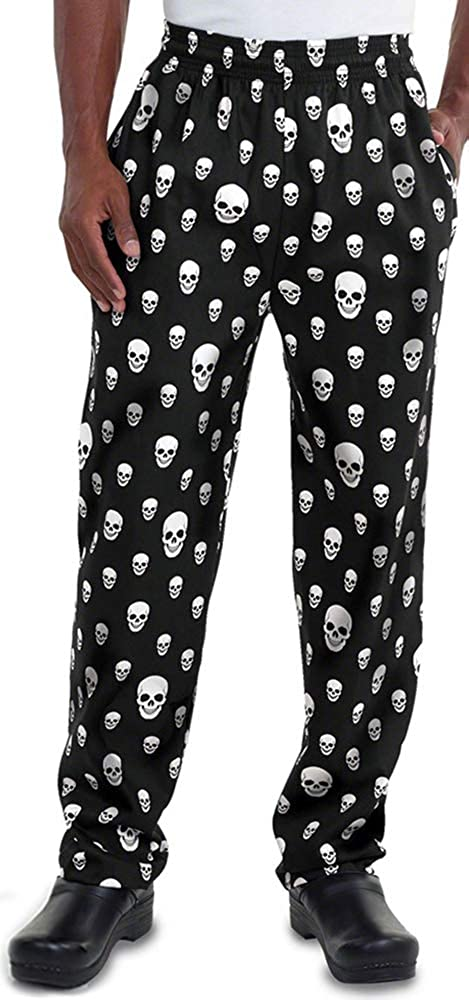Men's Skullinary Print Chef Pant (XS-3X) | Traditional Baggy Fit, 100% Cotton, Elastic Waist