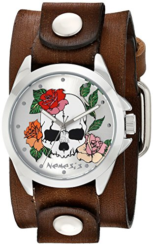Watch Cuff Skull (Nemesis Women's Silver Skull and Roses Faded Brown Leather Cuff Analog Display Japanese Quartz Watch)