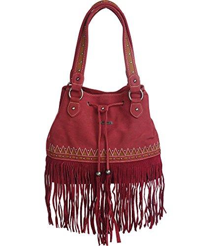 Deep Red Suede Bag - 3