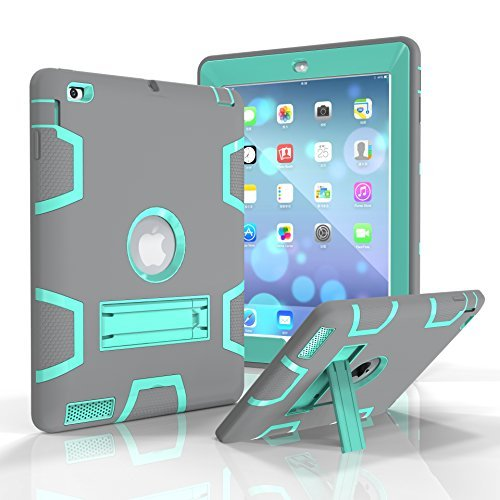 iPad 2/3 / 4 Case, Beimu Kickstand Feature [Tire Series] Rugged Shock Absorbent Three Layer Hard Rubber Protective Case Cover with Stylus for Apple iPad 2nd / 3rd / 4th Generation (Grey+Aqua) (Incipio Ipad Case 3rd Generation)