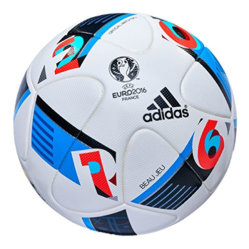 Adidas Performance Euro 16Oficial Match Balón de fútbol, Color Blanco/Azul Brillante/Noche índigo, 5