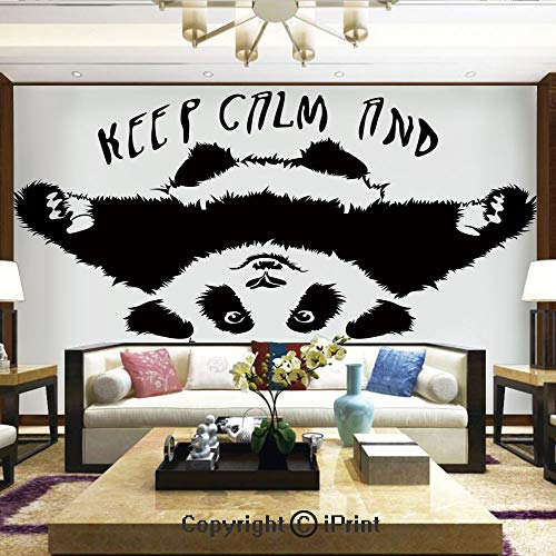 Lionpapa_mural Wall Mural Showing All They Beauty Extremely Detailed Image, Funny Animal Mascot Keep Calm and Hug a Panda Motivational Quote Art,Home Decor - 100x144 inches