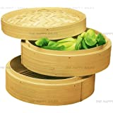 "Happy Sales 3 Piece 6"" Bamboo Steamer, Brown, 6"""