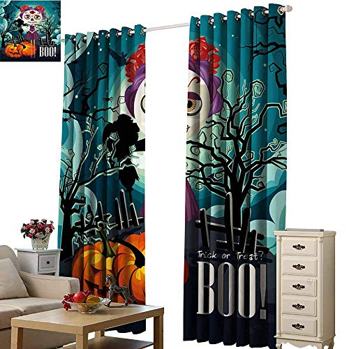 Warm Family Halloween Polyester Curtain Cartoon Girl with Sugar Skull Makeup Retro Seasonal Artwork Swirled Trees Boo 70%-80% Light Shading, 2 Panels,W120 x L84 Multicolor]()