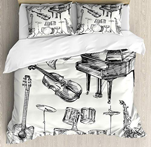 Verchant Jazz Music Twin Size Duvet Cover Set, Illustration of Musical Instruments Sketch Style Art with Trumpet Piano Guitar Theme,3 Piece Bedding Set with 2 Pillow Shams, Beige -