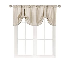 Home Queen Room Darkening Tie Up Shade Curtain Valance Window Treatment for Living Room, Adjustable Ballon Rod Pocket Drape Valance, Set of 1, 54 X 18 Inch, Taupe