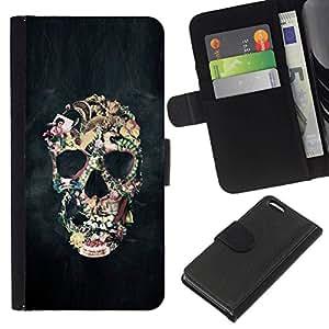 All Phone Most Case / Oferta Especial Cáscara Funda de cuero Monedero Cubierta de proteccion Caso / Wallet Case for Apple Iphone 5C // Smoke Abstract Black Skull Fog Art