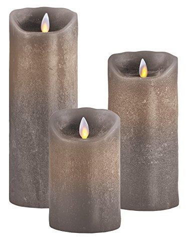3er SET  Sompex Flame LED Kerzen V14 Taupe 12,5cm, 18cm, 23cm mit Fernbedienung
