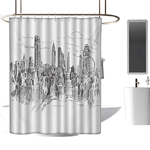 Stevenhome New York Custom Made Shower Curtain Hand Drawn NYC Cityscape Tourism Travel Industrial Center Town Modern City Design Bathroom Set with Hooks Grey ()