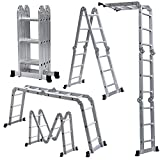 ALEKO FL-12 Multi-Purpose Multiple Position Heavy Duty 12 Step Aluminum Folding Ladder