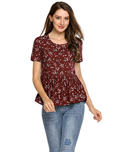 Beyove Women Floral Print Peplum Top Short Sleeve Crewneck Shirt with Ruffle Hem