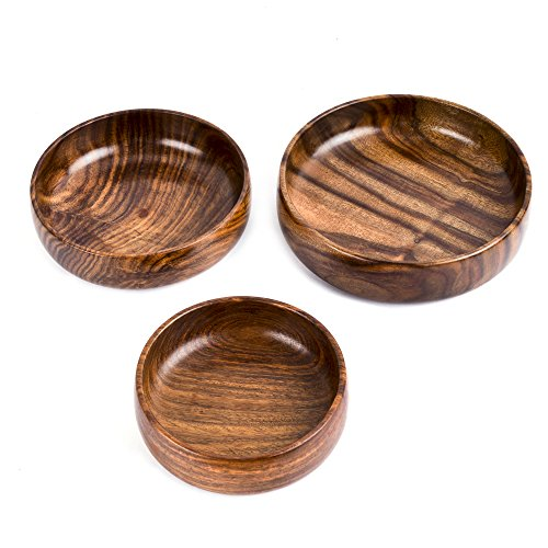 Rusticity Wooden Serving Bowls - Set of 3 | Handmade |(6 in, 7 in, 8 in) by Rusticity (Image #2)