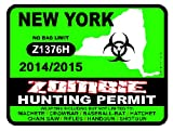 NEW YORK Zombie Hunting Permit 2014/2015 Car Decal / Sticker