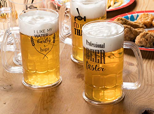 Plastic Beer Mugs - 6-Pack Shatterproof Classic Beer Mugs with Handle and Funny Drinking Quotes for Oktoberfest Themed Parties, Birthday, Beer Tasting, 3 Assorted Designs, 17-Ounce by Juvale (Image #1)