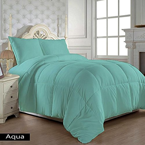 US Bedding Hypoallergenic Egyptian Cotton 300 GSM Warm Comforter/Quilt (Aqua Blue, King/Cal King) Luxurious 300 Thread Count By