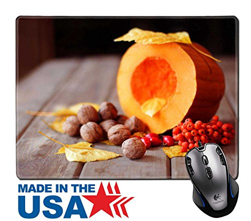 "Ash Natural Flooring (MSD Natural Rubber Mouse Pad/Mat with Stitched Edges 9.8"" x 7.9"" Autumn scene with a pumpkin and ash IMAGE 23070501)"
