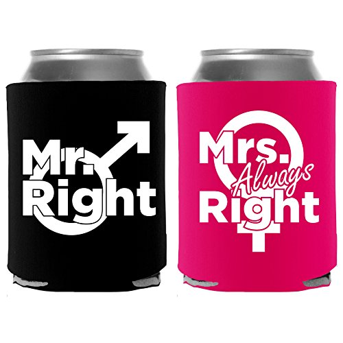 Mr. Right & Mrs. Always Right Beer Can Cooler 2 Pc Combo - Wedding Engagement Gifts for Couples