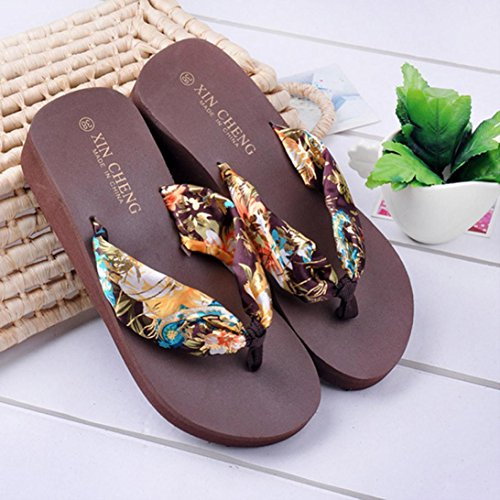 Cooljun Bohemia Floral Beach Sandalen Keil Plattform Thongs Hausschuhe Flip Flops Coffee