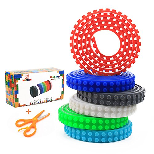 Building Blocks Tape for Lego - MOOHAM Peel and Stick Washable Toy Loops Compatible With Lego Bricks Collection Construction, 6 Colors 3.2 Feet of Each,Bonus a Safe Scissors Best Christmas Gift Received