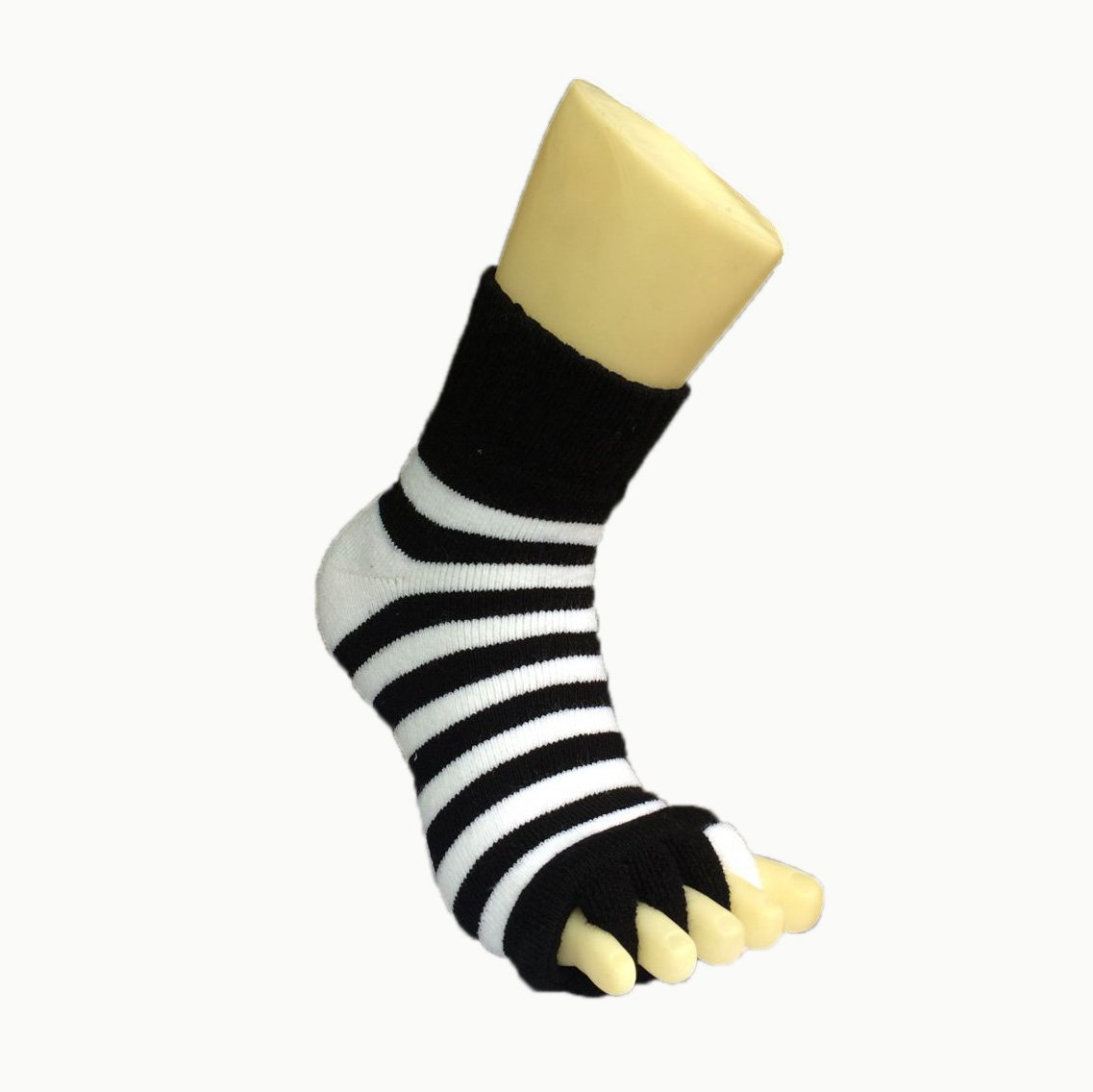 Moja Sports (Black/White, 1Pair) Toes Alignment Socks Open Five Toe Separator Spacer Relaxing Comfort Tendon Pain Relief Comfy Foot Sock Yoga Gym Pedicure (Black/White : 1 Pair, Medium) by Moja Sports (Image #2)
