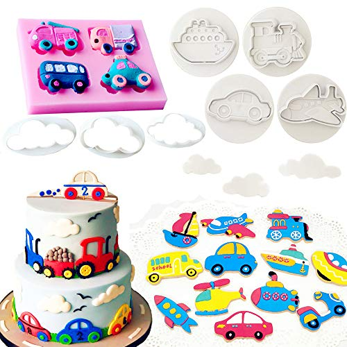 (Set of 10 JeVenis Transportation Theme Cake Decoration Transportation Vehicle Fondant Mold Boat Mold Airplane Mold Sugar craft Cupcake Cake Projects for Transportation Theme Baby Shower Birthday Party)