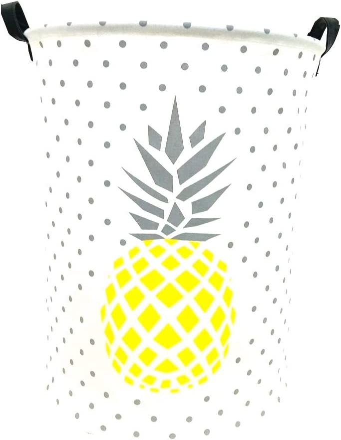 "TIBAOLOVER 19.7"" Large Sized Waterproof Foldable Laundry Hamper Bucket,Basket for Toys,Kids Room,Storage Bin,Nursery Storage,Canvas Storage Basket Stylish Cart (Yellow Marble Pineapples)"