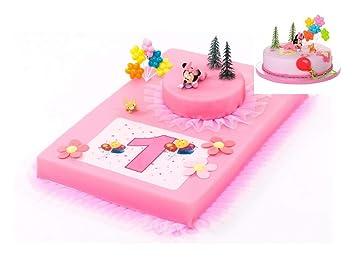 Tortendeko 1 Geburtstag Minnie Mouse Baby 9 Teilig Tortenaufleger