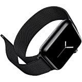 FARSIC 42mm Apple Watch Band - Magnet Lock, No Buckle Needed, Soft, Smooth - Stainless Steel Link Bracelet Strap Replacement Wrist Band - Black ""