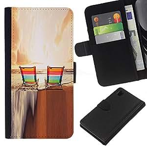 EJOY---La carpeta del tirón la caja de cuero de alta calidad de la PU Caso protector / Sony Xperia Z1 L39 / --Puesta de sol Bronceado Diversión Relajación