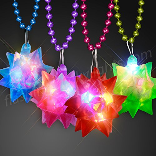 Soft Jelly Light Up Crystal Star with Flashing LED Lights on Mardi Gras Bead Necklaces (Set of 12) -