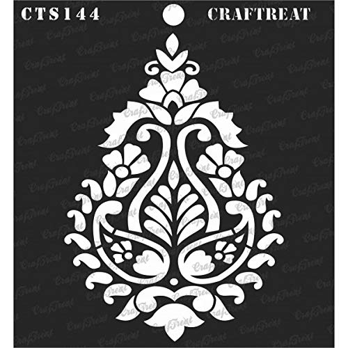 (CrafTreat Stencil - Paisley Damask | Reusable Painting Template for Journal, Notebook, Home Decor, Crafting, DIY Albums, Scrapbook and Printing on Paper, Floor, Wall, Tile, Fabric, Wood)