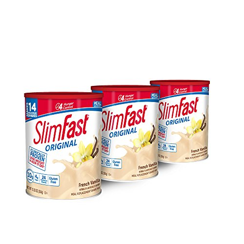 SlimFast Original French Vanilla Meal Replacement Shake Mix - Weight Loss Powder - 12.83 oz Canister - Pack of 3