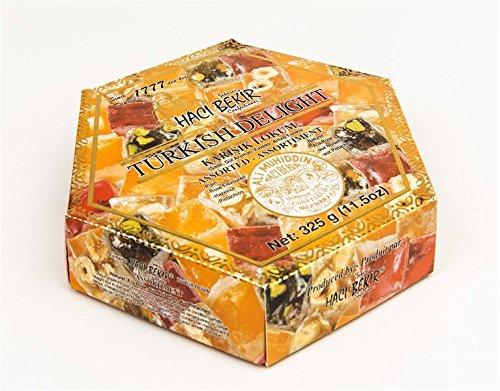 (Haci Bekir Lokum Turkish Delight Mix Assorted (Plain, Rose, Hazelnut, Pistachio) 325 gr)