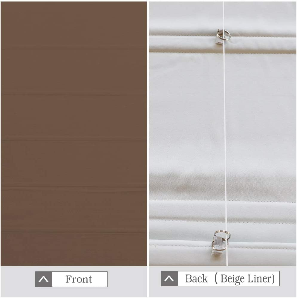 Brown 20 W x 36L Inches Fabric Custom Solid Lined Roman Shades Blinds for Windows Artdix Roman Shades Blackout Window Shades Kitchen Windows French Doors Doors